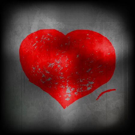 Red heart on a grey wall Vector