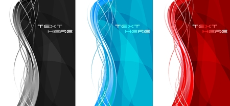 banner effect: Abstract wavy banners - vertical position Illustration