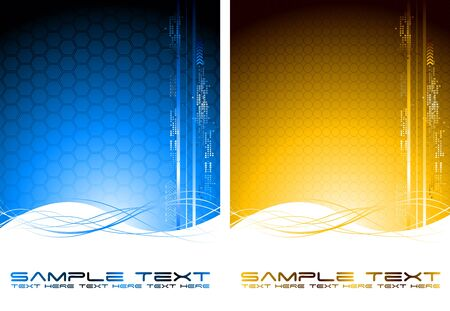 Two abstract tech banners with waves (vertical position)