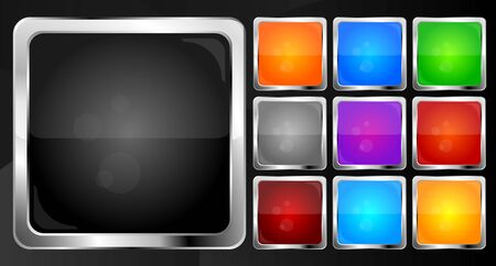 Square glossy buttons collection. Vector