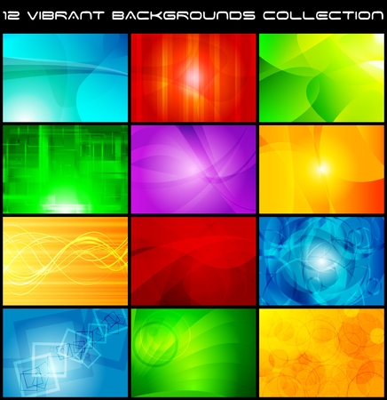 Set of bright abstract backgrounds. Vector