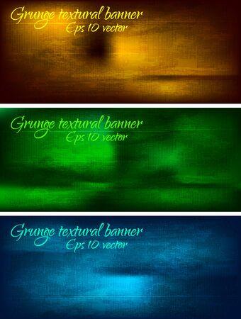 old pc: Set of dark grunge banners - EPS 10 Illustration