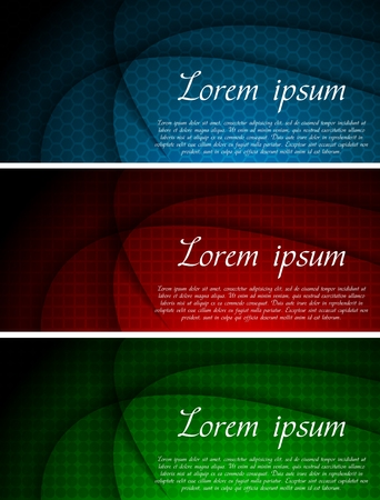 Set of beautiful banners with a different texture: hexagon, square and circle Vector