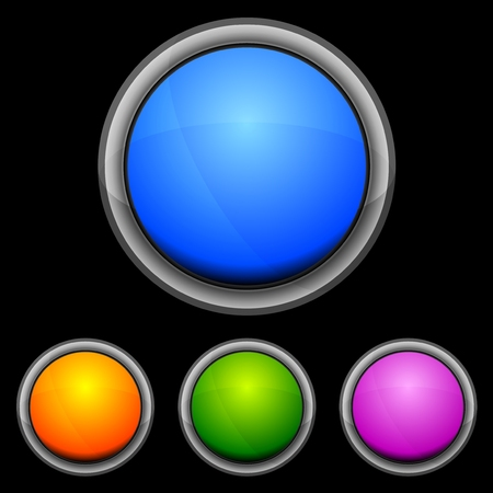 Set of glossy buttons in various colors Vector