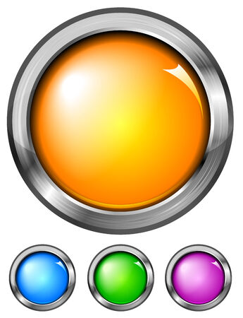 Set of glossy buttons in a metal frame   Vector