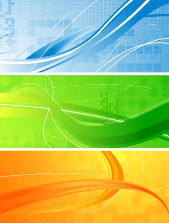 Set of bright technical banners with waves Stock Vector - 7859929