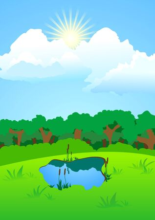 illustration of forest landscape with lake Stock Vector - 7859926