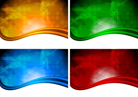 Set of bright abstract backgrounds with circle texture