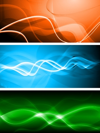 Set of abstract banners with waves - eps 10 vector Stock Vector - 8387093