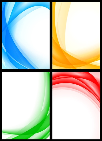 Abstract multicolored waves on white backgrounds eps10
