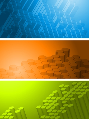 hexagon background: Set of bright tech banners with 3d geometrical elements