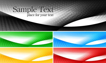 Set of abstract stylish banners in five colours Vector