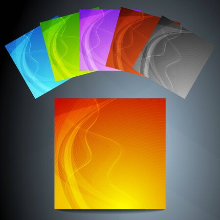 Set of six colourful wavy posters Illustration