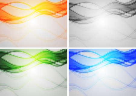 enfumaçado: Set of abstract backgrounds with smoky waves Ilustração