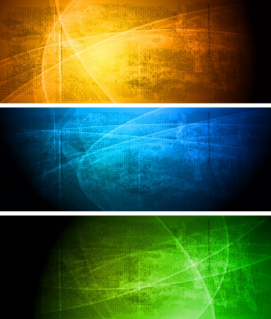 blue gradient background: Set of vibrant grunge banners Illustration