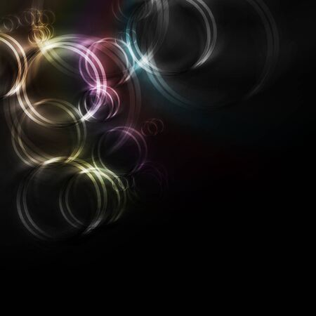 iridescent: Abstract iridescent rings on a black background. Eps 10