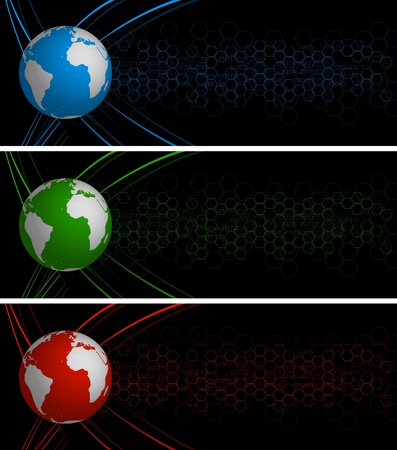 Set of tech banners with globe. Eps 10 Vector