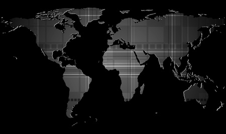 Dark tech background with world map texture. Eps 10