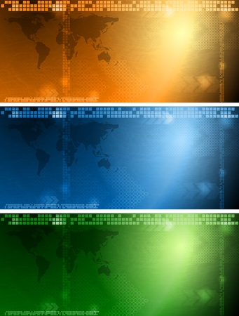Set of tech banners with world map. Imagens - 9819412