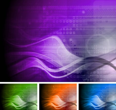 Set of abstract tech backgrounds with waves. Stock Vector - 9819413