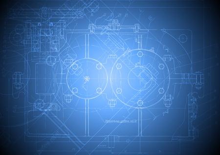 De engineering tekening van een reducer op blauwe achtergrond.