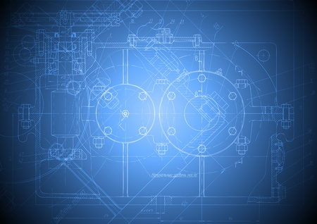 engineering drawing: The engineering drawing of a reducer on blue background.