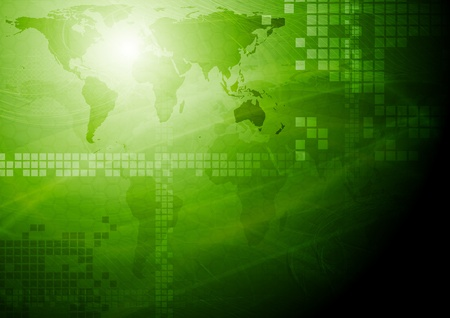 Green tech design with world map.  Vector