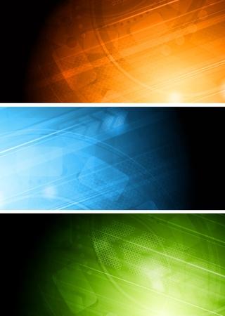Conjunto de coloridas pancartas técnicas.