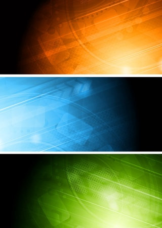 tech background: Set of colourful technical banners.
