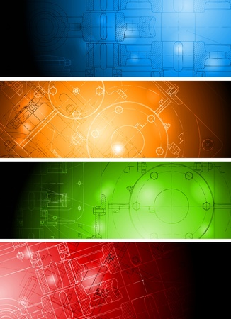 The engineering drawing on vibrant banners. Eps 10 vector Stock Vector - 9932524