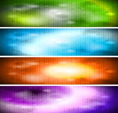 Set of colourful mosaic banners. Eps 10 Vector
