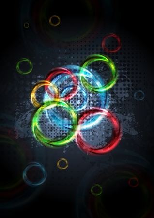 Colorful circles on dark grunge background. Stock Vector - 10095750