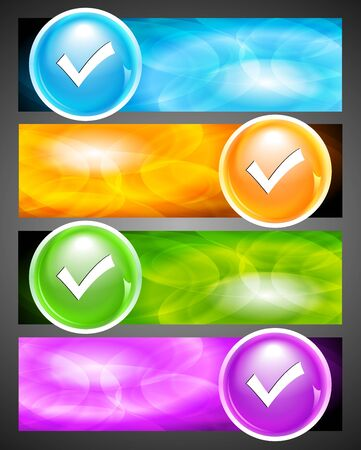 Colourful banners with check button. Eps 10 vector Vector