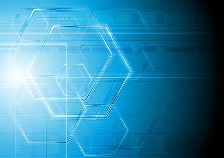 hexagon: Blue hi-tech design. Illustration