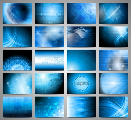 Big set of blue technical background  Vector