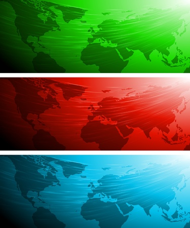 vibrant: Set of vector banners with world map. Eps 10