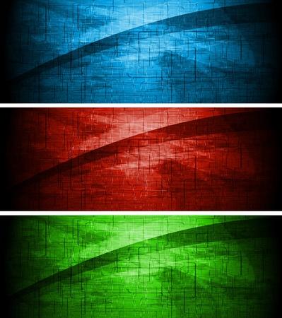 Set aus dunklen Grunge-Banner. Vektorgrafik