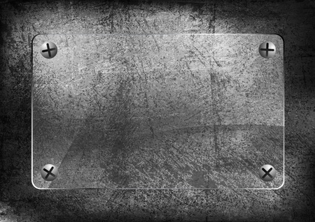 translucent: Quadro vetro su vecchio muro grigio.