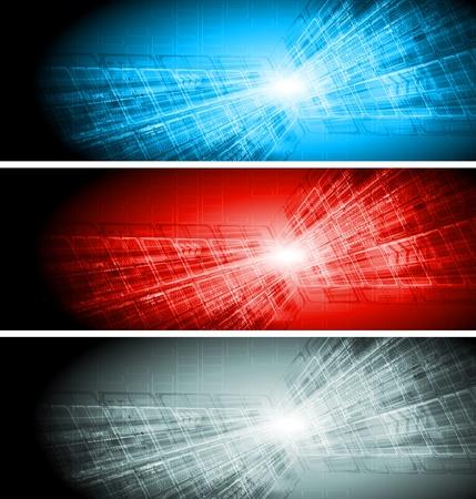 Set de salut-technologie abstraite illustration bannières
