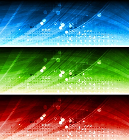 Set of colorful hi-tech banners. Vector
