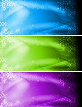 Set of colorful Christmas banners.  Vector