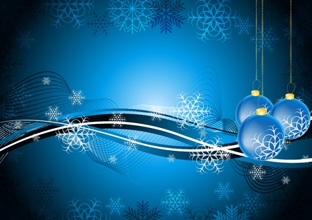 Sombre carte de voeux bleu avec des boules de Noël.