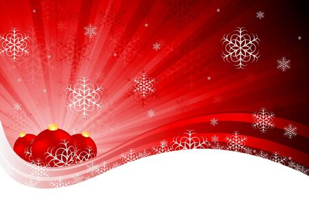Bright red X-mas design with tree balls and snowflakes.  Vector