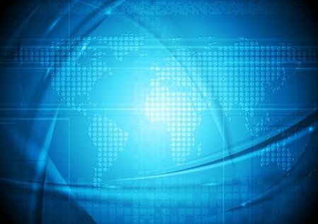Blue hi-tech design with world map. Vector