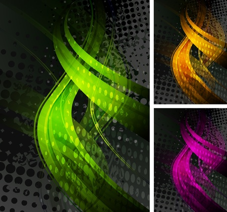 Set of abstract grunge backgrounds with colorful waves. Stock Vector - 11084953