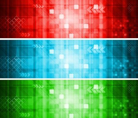 Set di colori hi-tech banner.