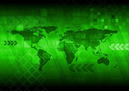 Green hi-tech design with world map. Vector eps 10 Stock Vector - 11851567