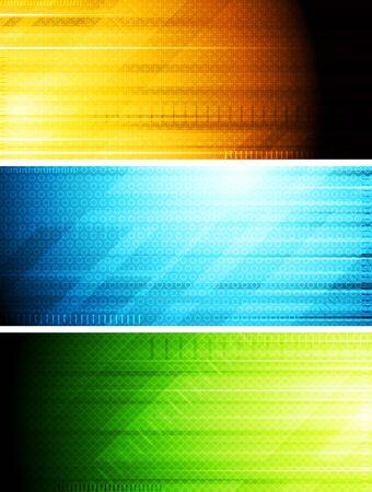 hitech: Set of hi-tech colorful banners. Eps 10 vector