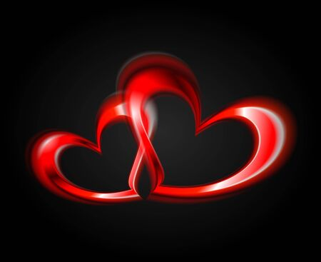 Two red hearts. Vector illustration Vector