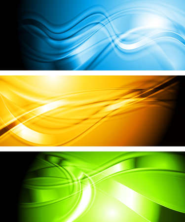 Bright colorful banners with waves. Eps 10 vector background Vector
